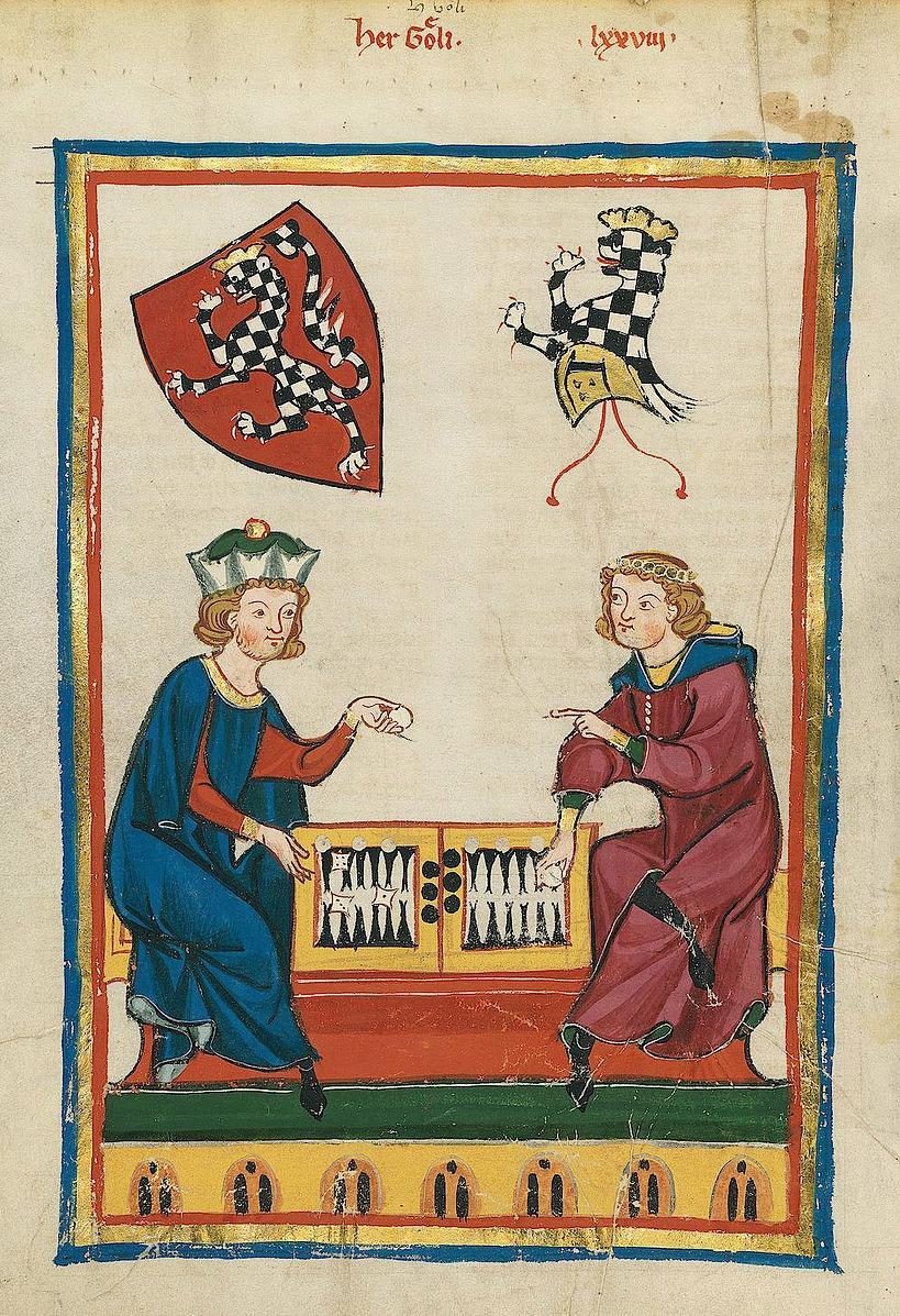 نقاشی تخته نرد مربوط به قرن 14 میلادی
