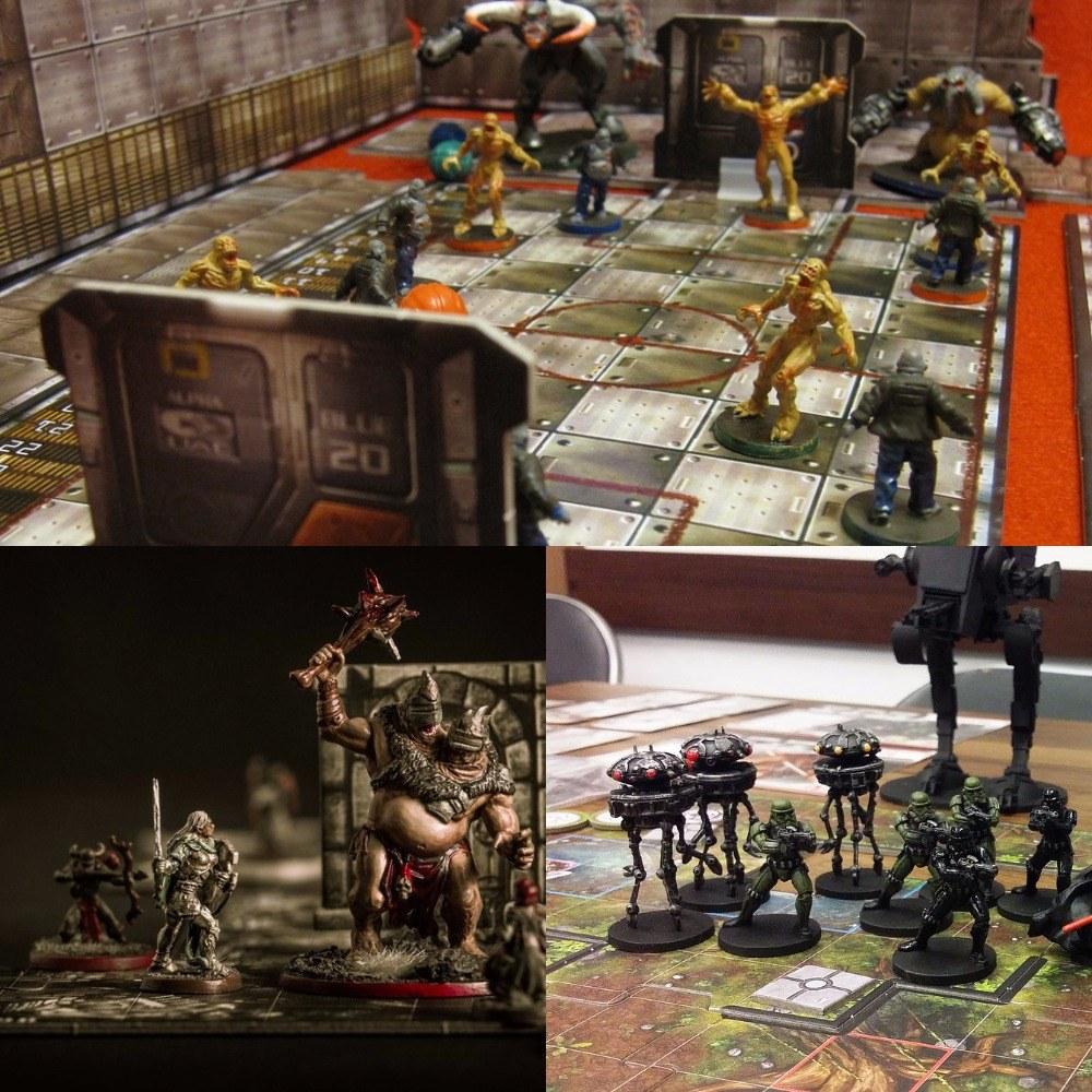 بالا: DOOM 2004. پایین چپ: Descent. پایین راست: Imperial Assault