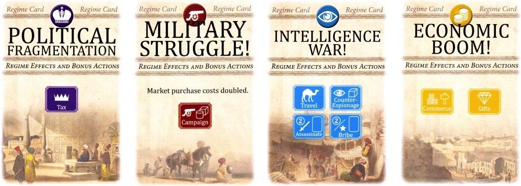 کارتهای چهار «رژیم» مختلف در بازی